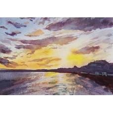 Sunset over Bournemouth beach