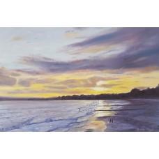 Sunset over Bournemouth beach 2